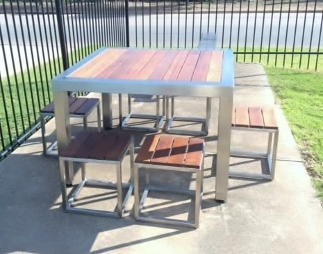 Stainless Steel Outdoor Table Setting